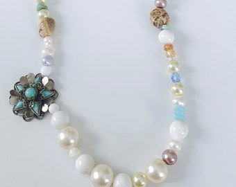 Modern Strand of Pearls - pale blues, green, cream