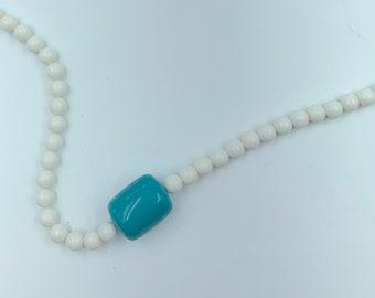 white and aqua blue necklace