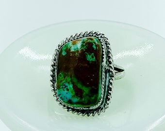 Large organic-shaped cabochon turquoise and sterling silver ring