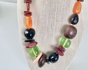 vintage wood, resin, leather bead necklace
