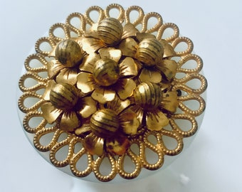 Brass bouquet brooch