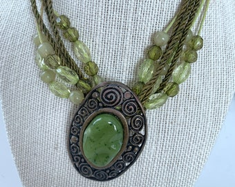 multi strand green and brass necklace
