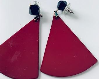 Statement dark red and black fan-shaped statement earrings