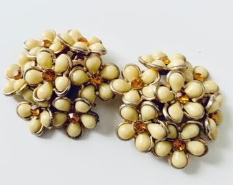 Yellow flower clip-on earrings