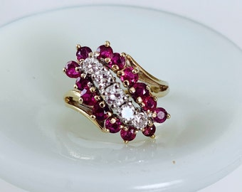 stunning vintage natural ruby and diamond 14k gold statement cocktail ring - gorgeous, stand-out design