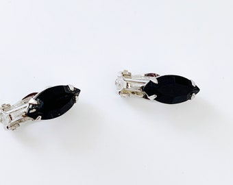 Black oval rhinestone earrings - simple, modern, petite
