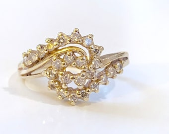 gorgeous vintage diamond and 14k gold swirl wedding band / engagement ring