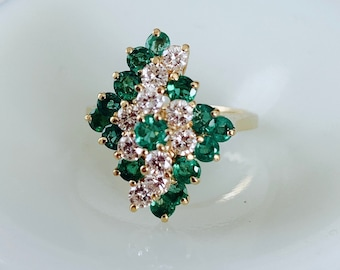 gorgeous statement vintage emerald and diamond  14k gold cocktail ring