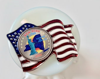 September 11 silver coin flag commemorative pin