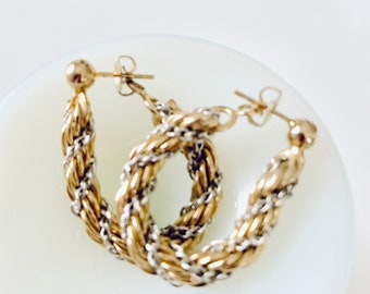 gold and silver rope chain earrings