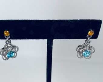 sweet flower earrings - blue and orange / yellow