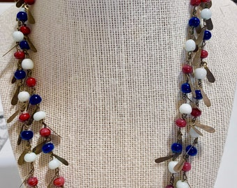 red white blue & brass beaded necklace