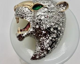 Stunning enamel and crystal vintage leopard brooch