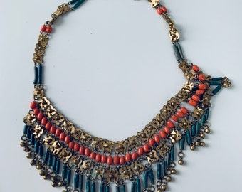 Vintage victorian-style brass and bead necklace