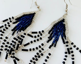 black, white and blue statement beaded earrings