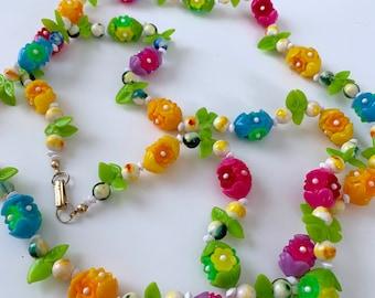 pink, green, yellow, orange, purple, blue flower beaded necklace