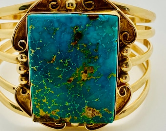 gorgeous gold and turquoise cuff bracelet