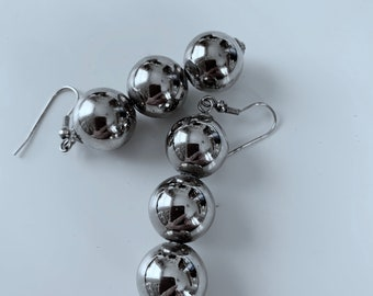 Statement, modern silver earrings