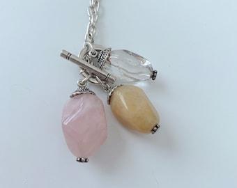 Three stone lariat chain necklace