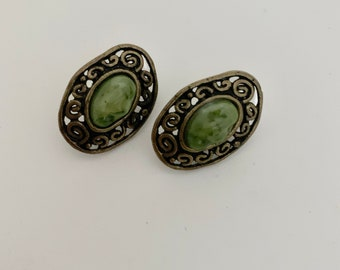 Brass and green disc vintage earrings