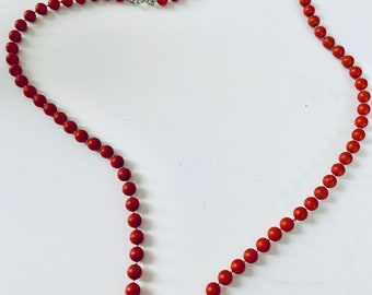 Red-orange beaded layering necklace