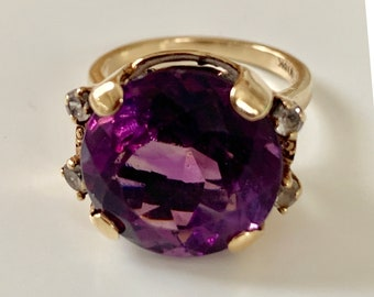 gold and amethyst statement ring