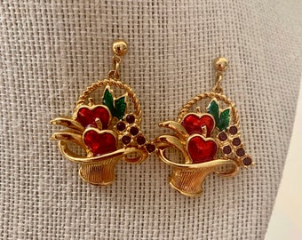 vintage rhinestone and enamel fruit basket earrings