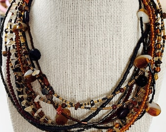 glass and stone multi-strand beaded necklace - chico's signed