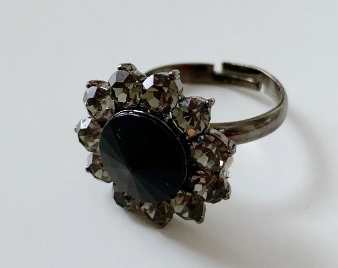 Featured listing image: Statement rhinestone black and grey floral ring