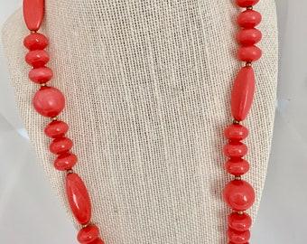 vintage orange beaded necklace