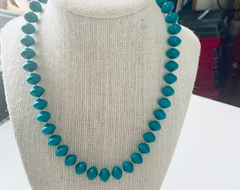 Teal beaded layering necklace