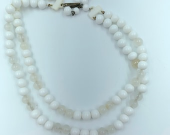 two-strand vintage white and colorless bead necklace