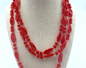 orange-red bead layering necklace