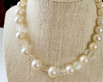 vintage pearl and glass crystal necklace