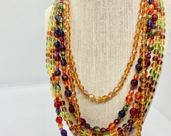 Joan Rivers Classic Collection - 3 crystal bead necklaces - colors of citrine, topaz, amethyst, peridot