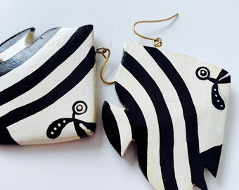 angel fish statement earrings