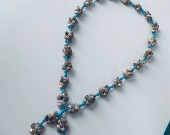 Shell and blue bead necklace