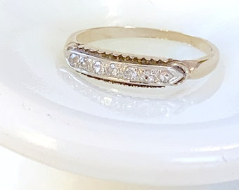 Diamond and 14k gold wedding band