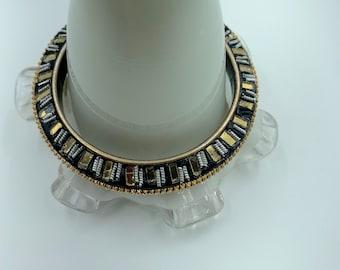 black, gold, white bangle