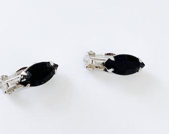 Black oval rhinestone earrings - simple, modern, petite