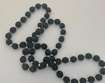 vintage fabric black bead necklace