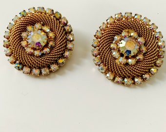 gold and crystal round clip-on earrings
