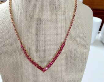 Pink crystal bib necklace - bridesmaid, prom, sweetheart dance