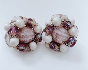 Vintage charming lavender and faux pearl bead clip-on earrings