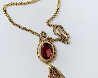 purple, gold, pearl pendant