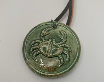 Cancer astrological leather and ceramic necklace
