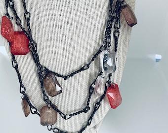 vintage crackle stone statement long necklace