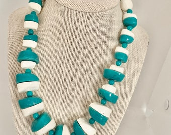 vintage turquoise and white necklace