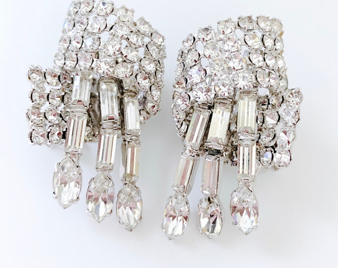 Featured listing image: gorgeous swoop and dangle rhinestone crystal earrings - Glamourous & clip-on