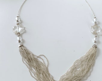 silver and white elegant statement necklace